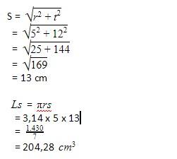 rumus mencari selimut kerucut matematika